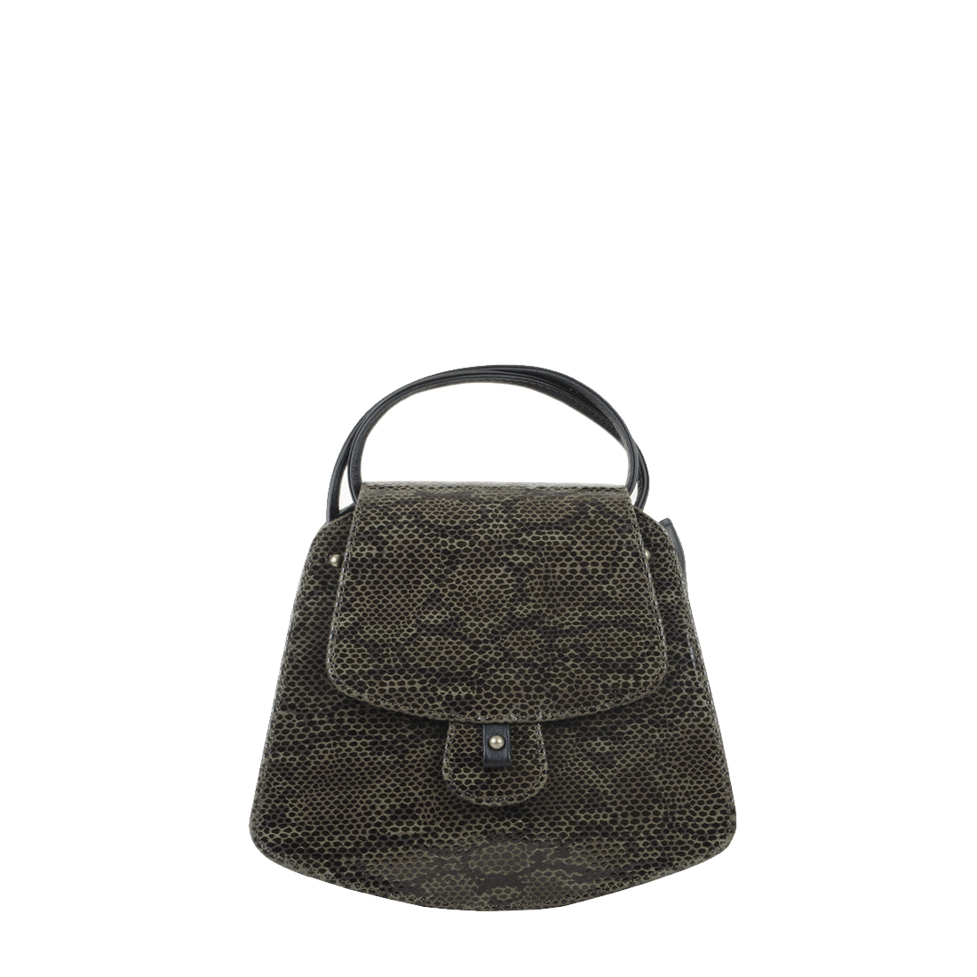 Clara Snakeskin olive Print Leather Shoulder Bag