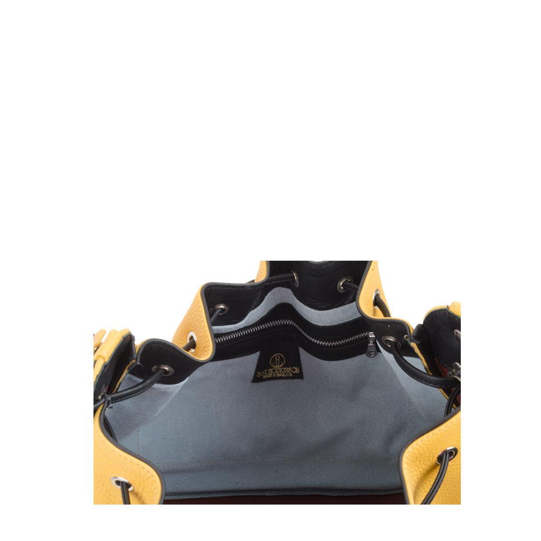 Daisy Mustard Black Leather Shoulder Bag