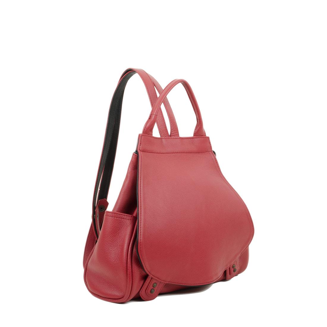 Daliya Red Leather Backpack