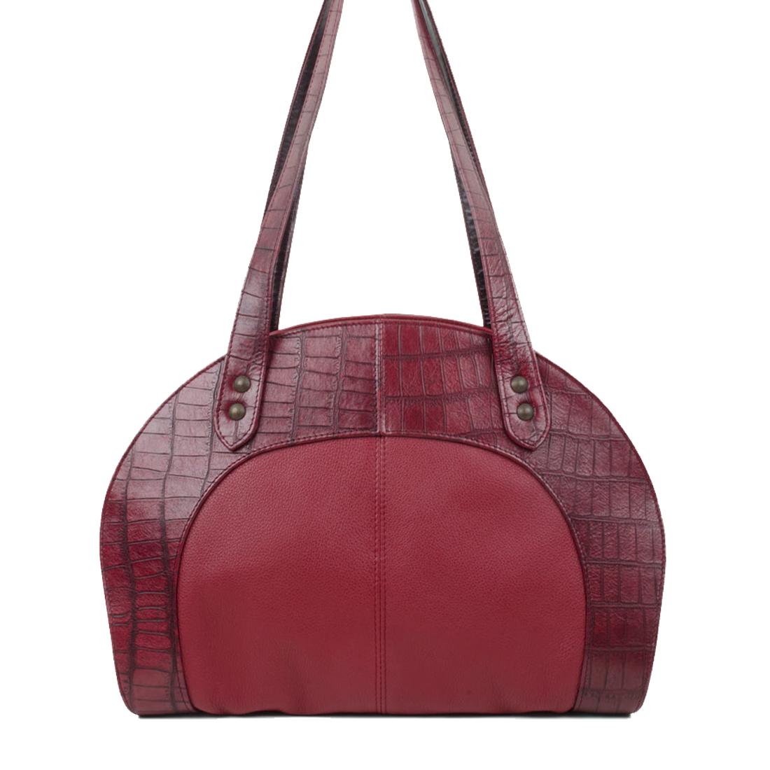 Eliza Burgundy Print Leather Shoulder Bag