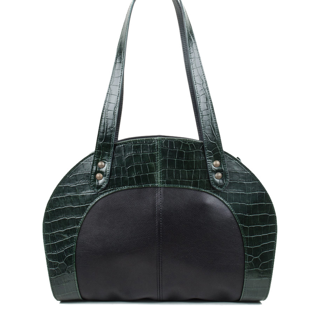 Eliza Dark Green Crocodile Print Shoulder Bag
