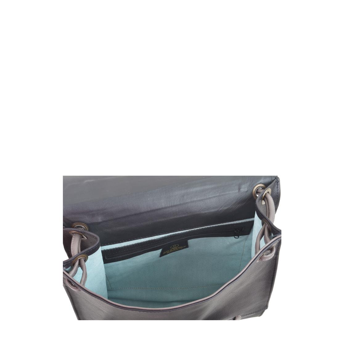 Elsa Black with grigio Leather Across Body Bag
