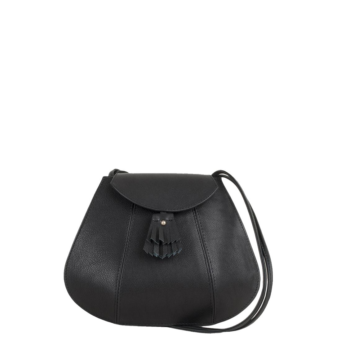 Florence Black Leather Shoulder Bag