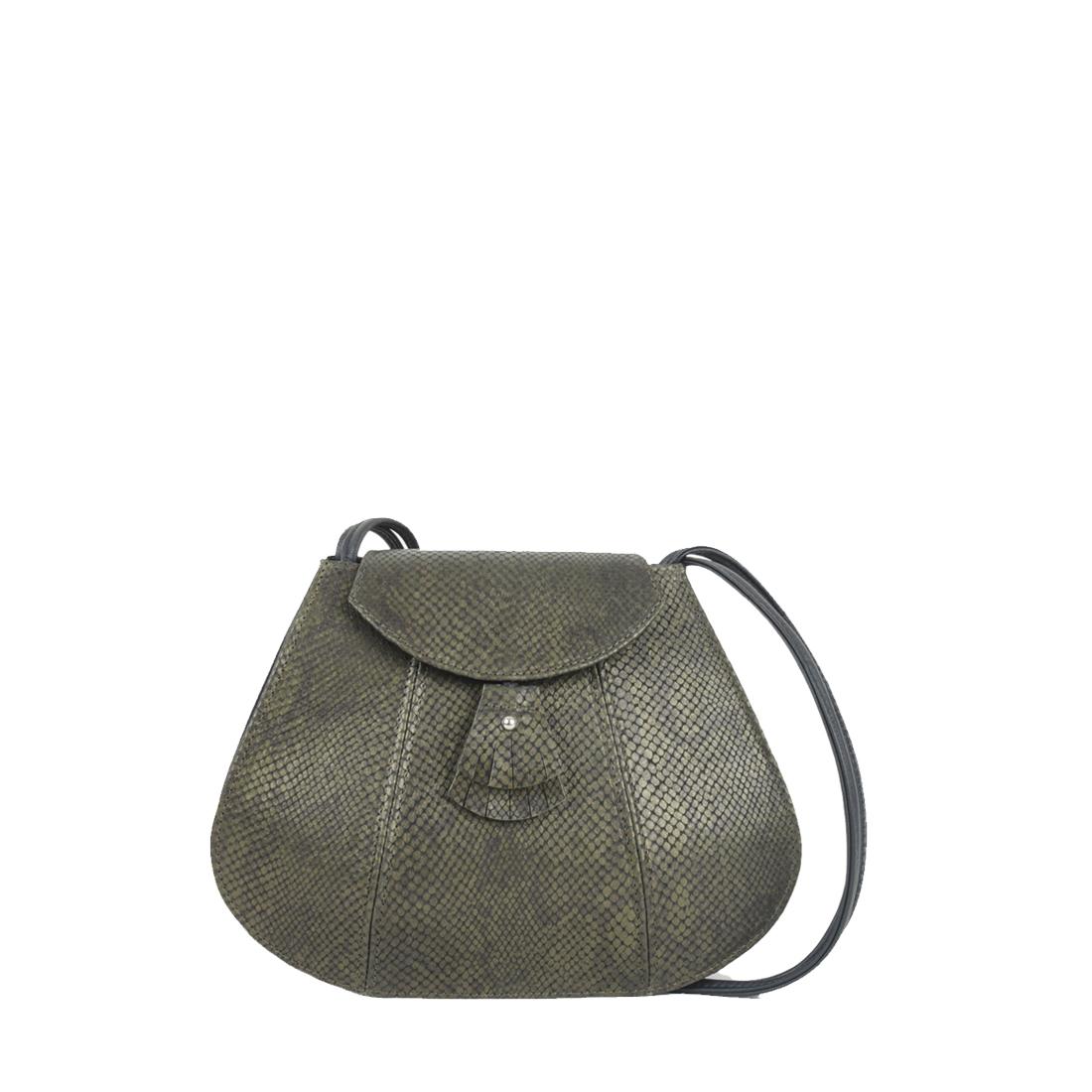 Florence Olive snake Print Leather Shoulder Bag