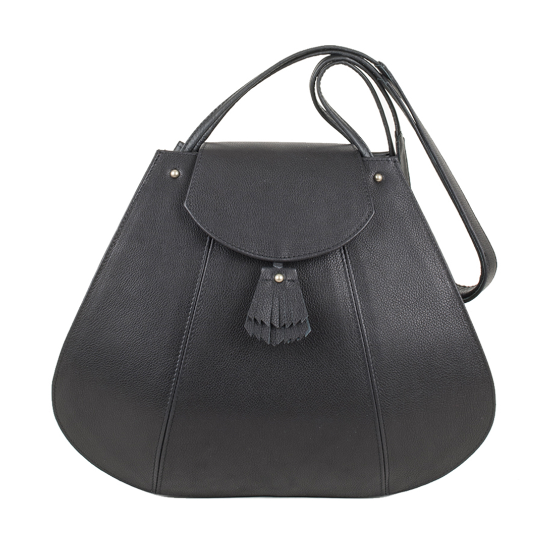 Frances Black Leather Shoulder Bag
