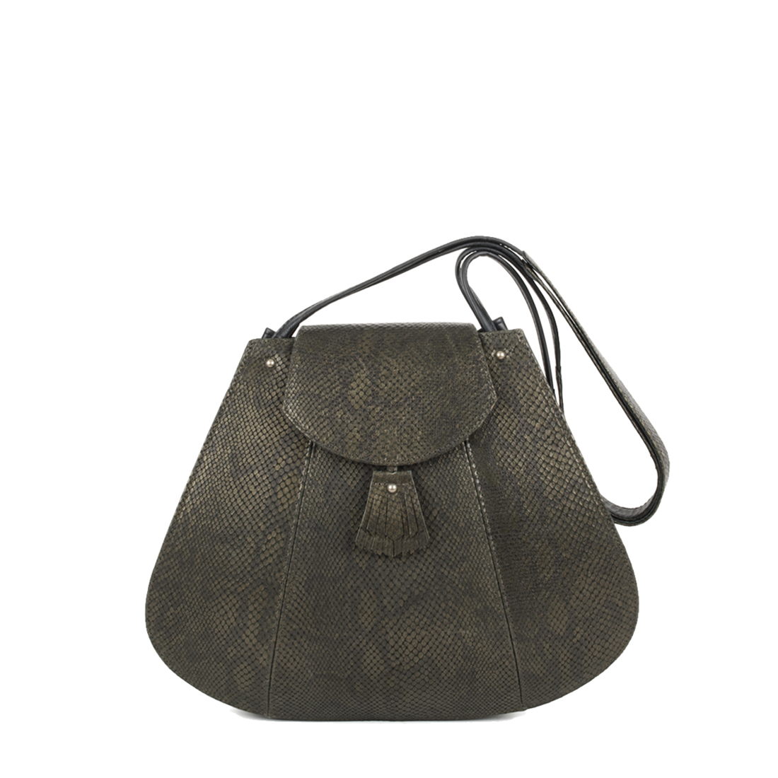 Frances Olive Snake Print Leather Shoulder Bag