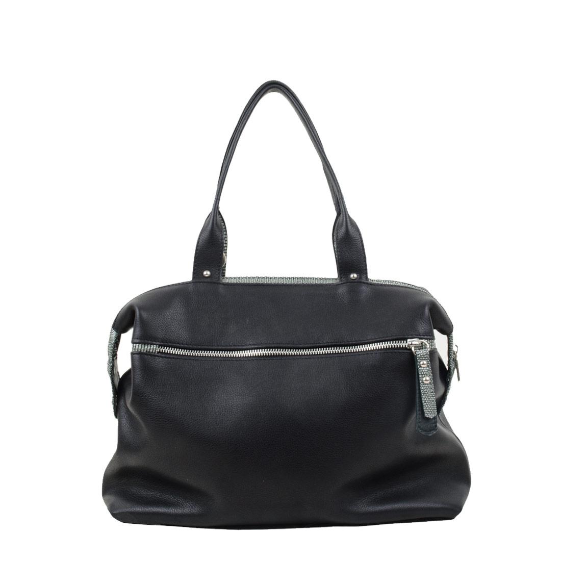 Grace Black Leather Tote Bag