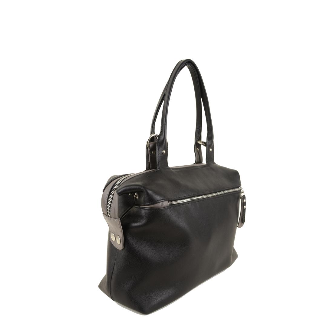 Grace Black Grigio Leather Tote Bag