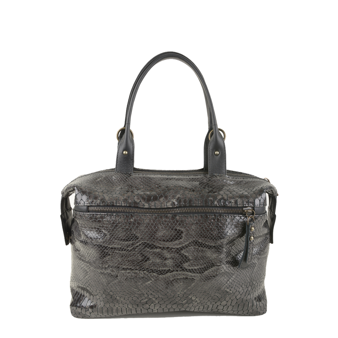 Grace Grey Python Print Leather Tote Bag