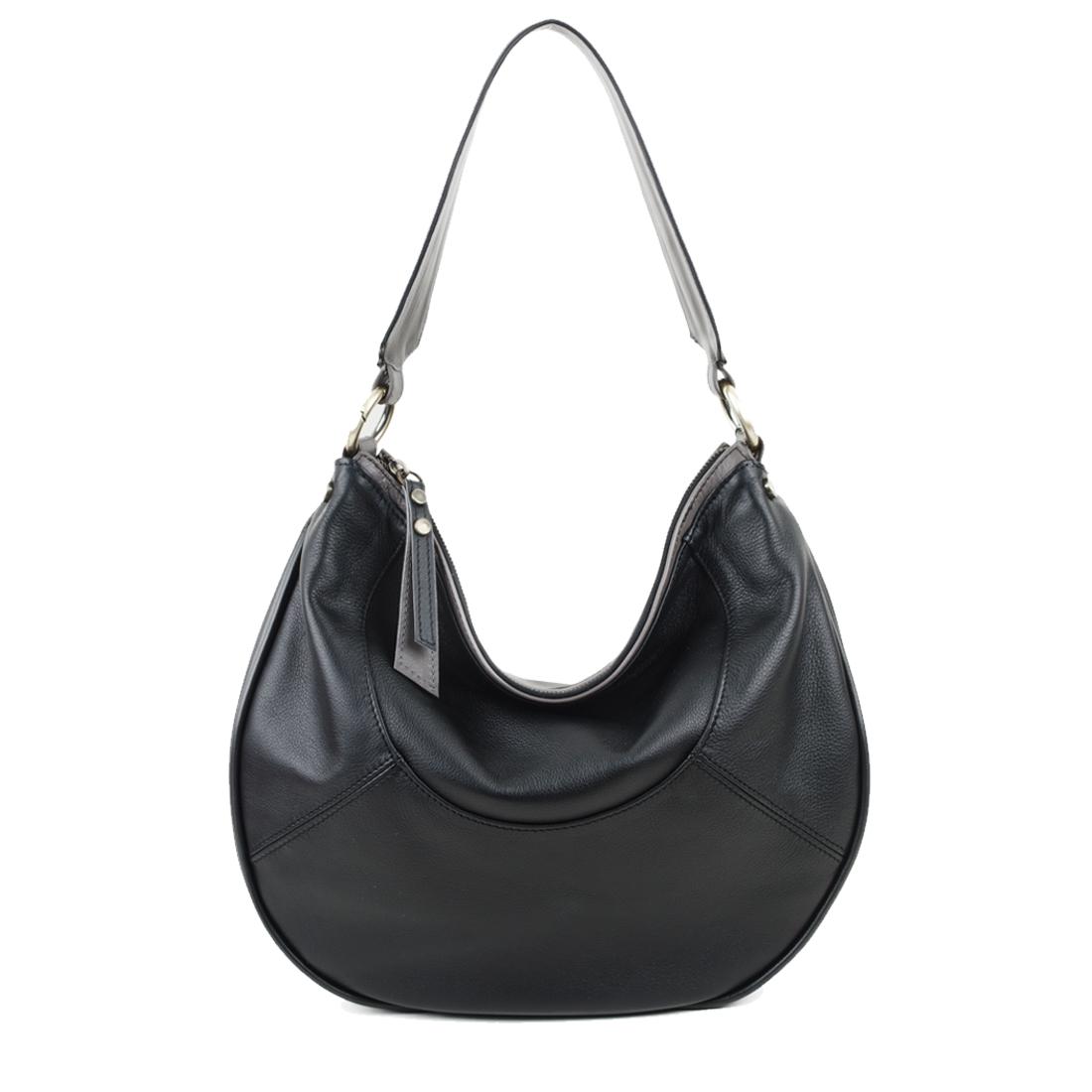 Hannah Black Leather Shoulder Bag