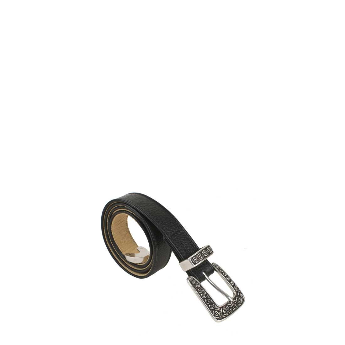 Rose Black Leather Belt