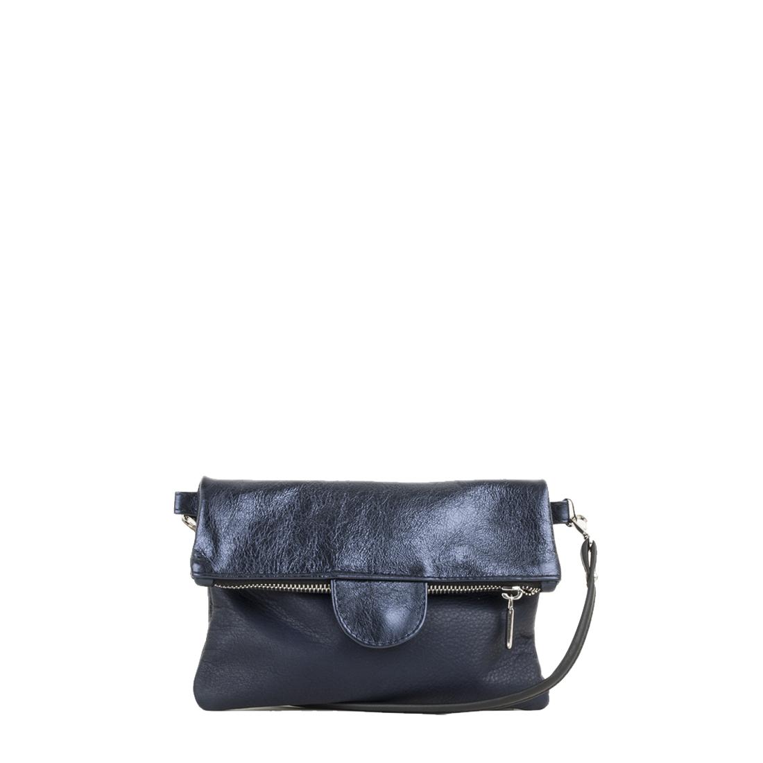Lilly Navy Metallic Leather Across Body Bag