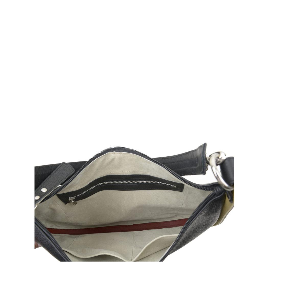 Lizzie Black Leather Shoulder Bag