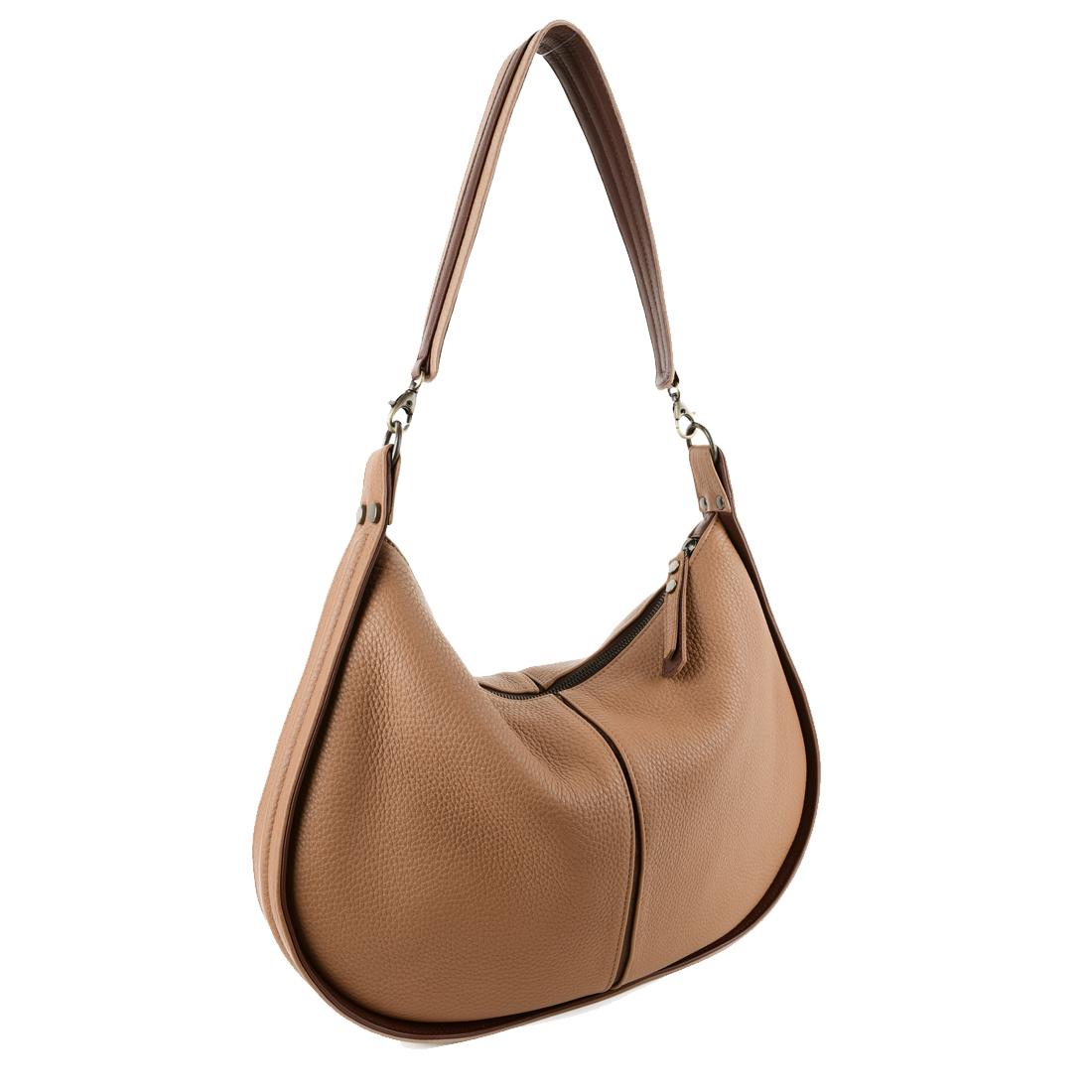 Lizzie Camel Leather Shoulder Bag