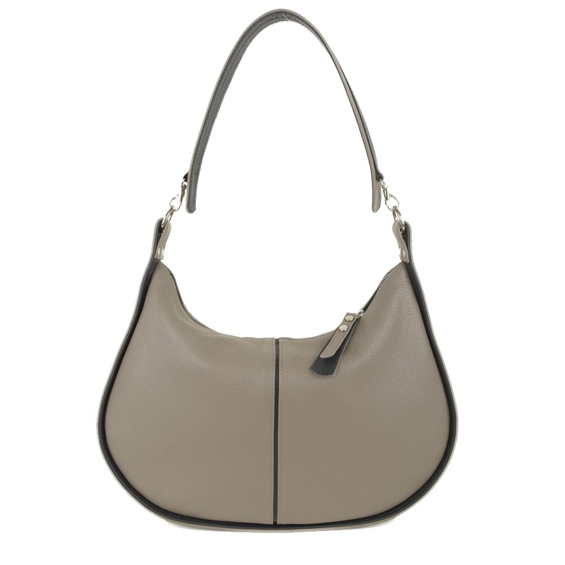 Lizzie Taupe Leather Shoulder Bag