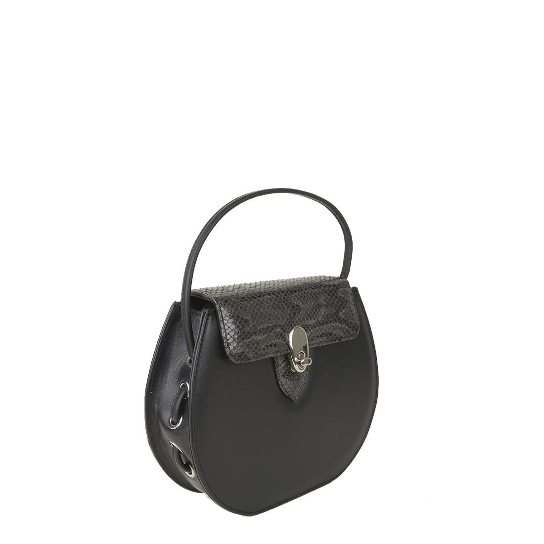 Mae Black / Grey Python Print Leather Shoulder Bag
