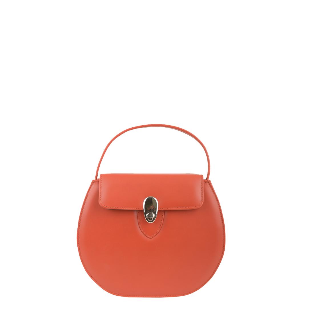 Mae Orange Leather Shoulder Bag