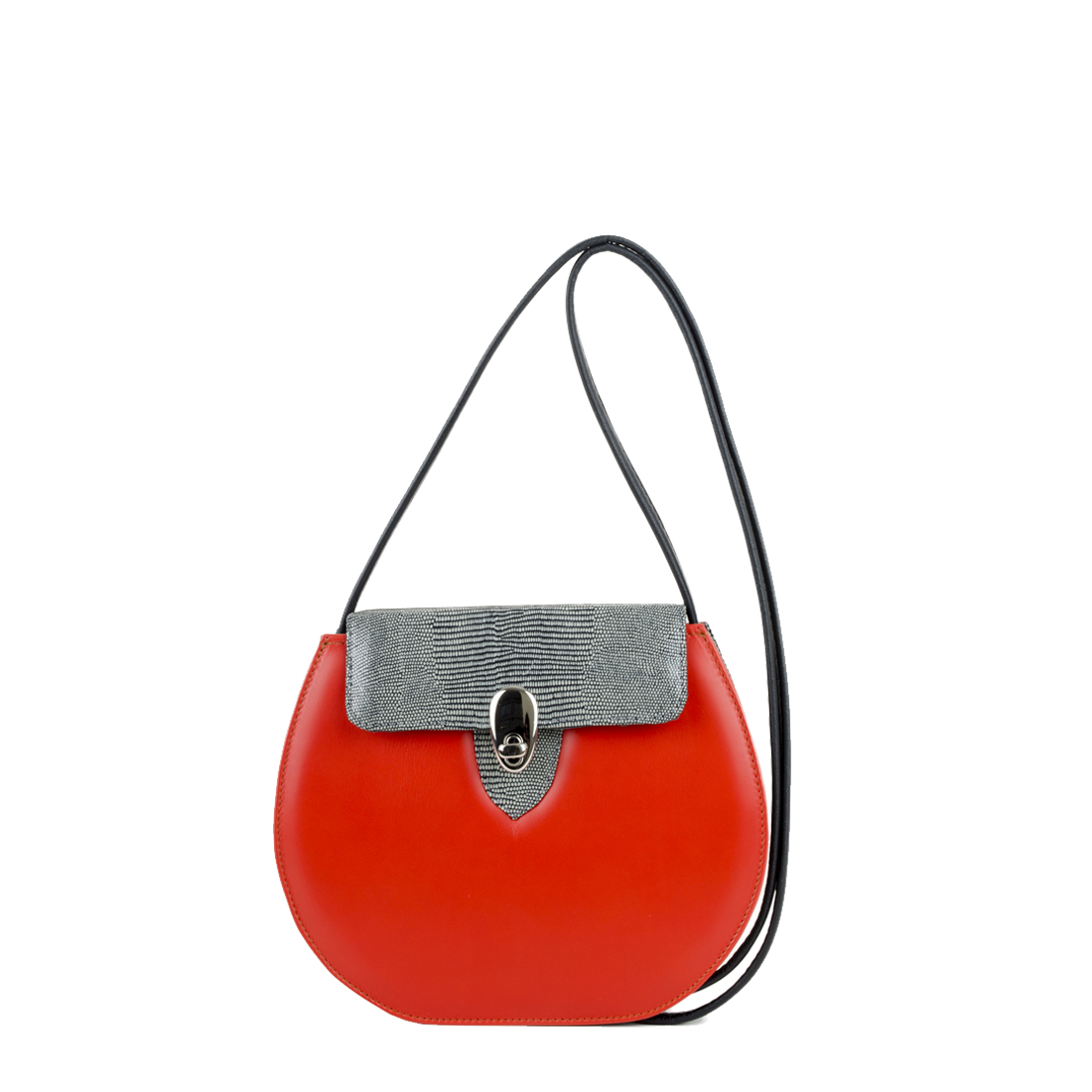 Mae Vivid Orange Leather Shoulder Bag
