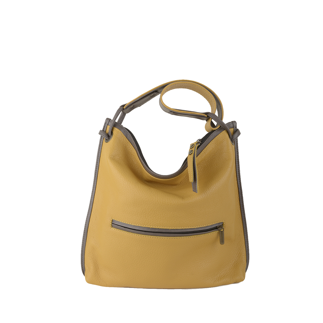Maria Mustard Grigio Leather Shoulder Bag