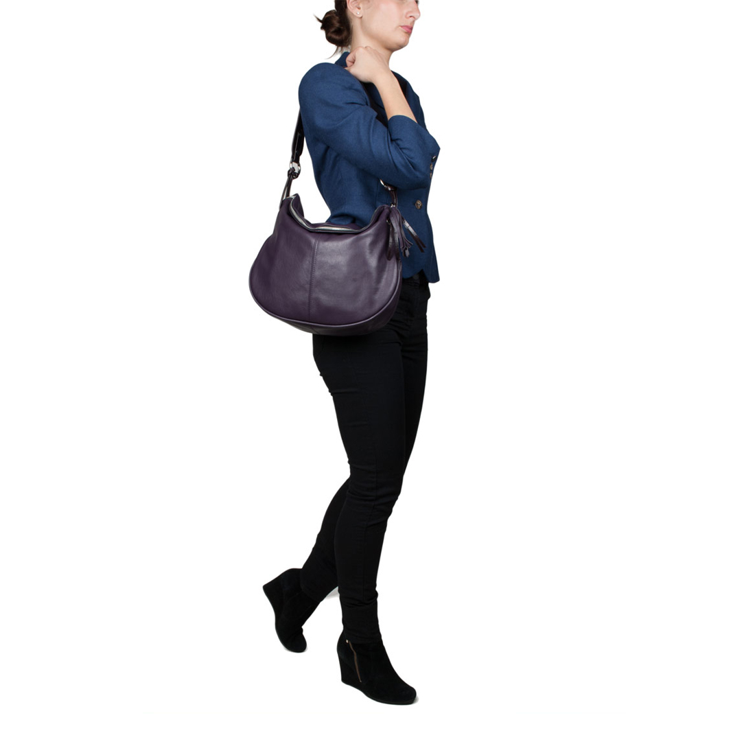 Matilda Blue Leather Shoulder Bag