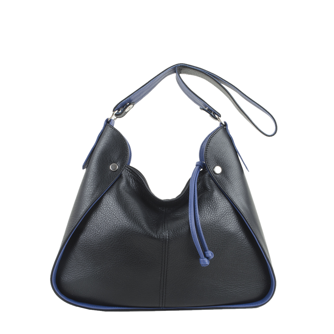 Meredith Black Blue Leather Shoulder Bag.