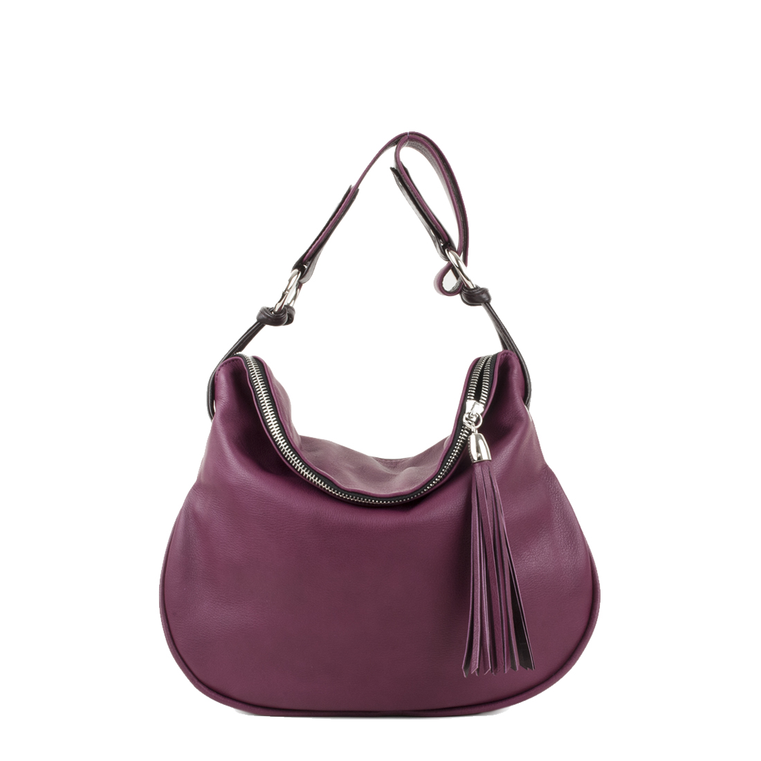 Milly Magenta Leather Shoulder Bag