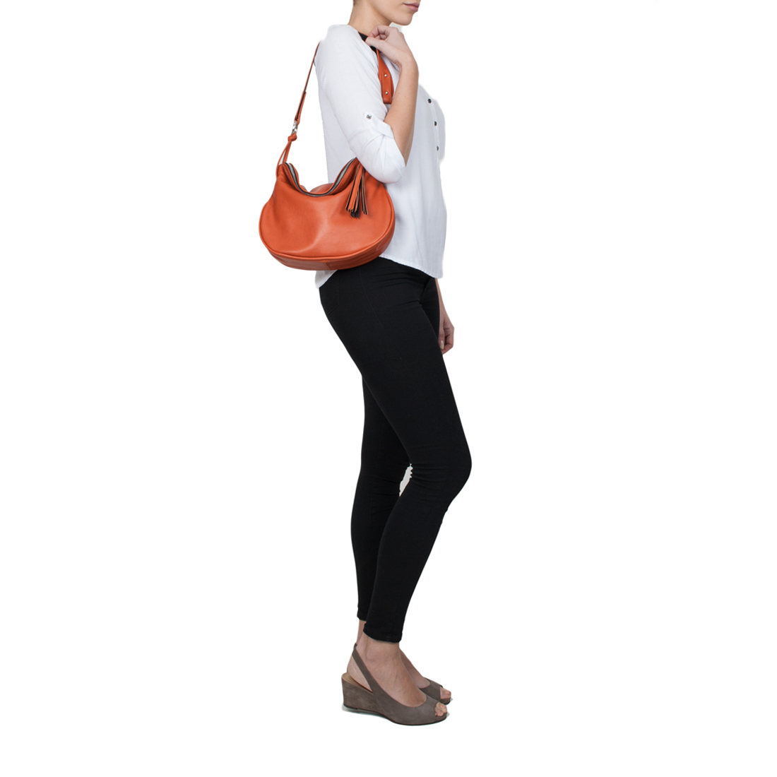 Milly Magenta Leather Shoulder Bag
