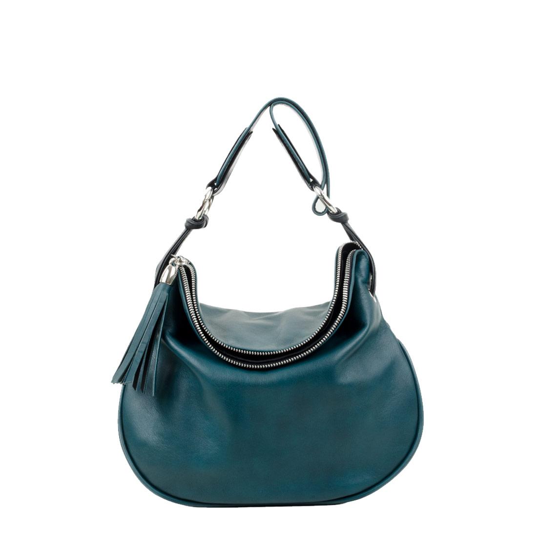 Milly Teal Leather Shoulder Bag