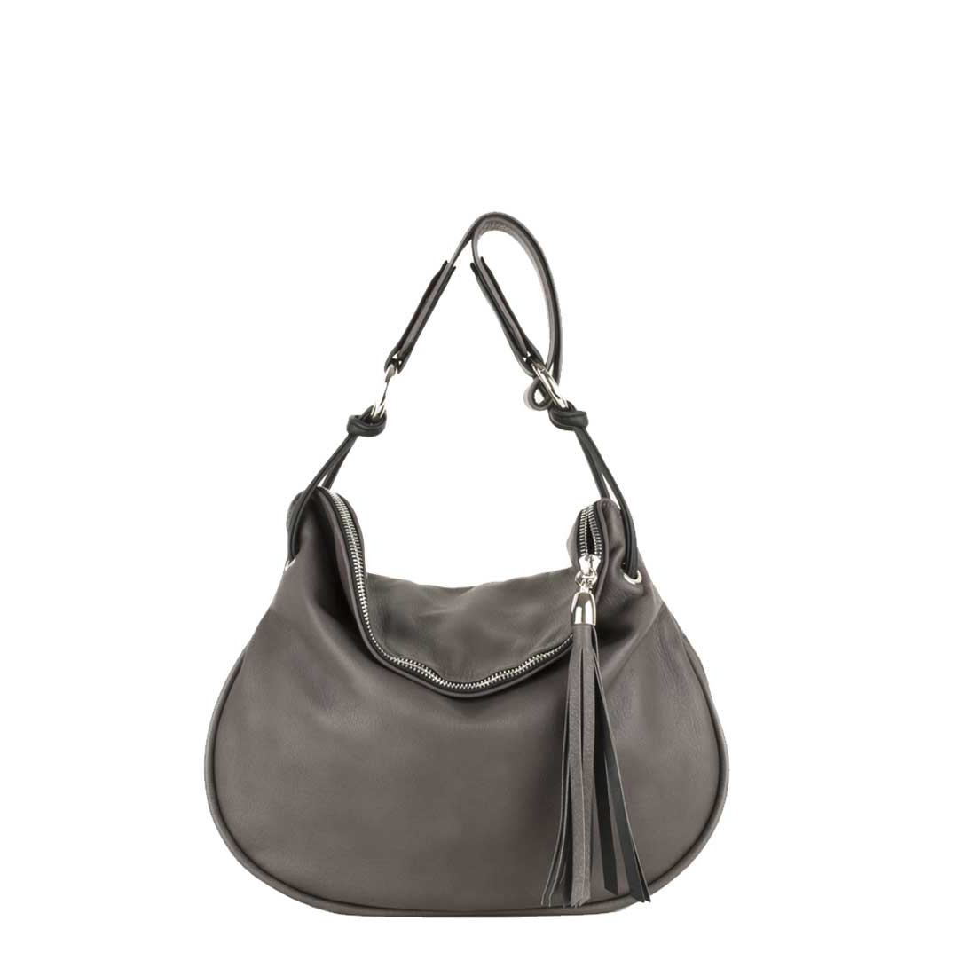 Milly Grigio Leather Shoulder Bag