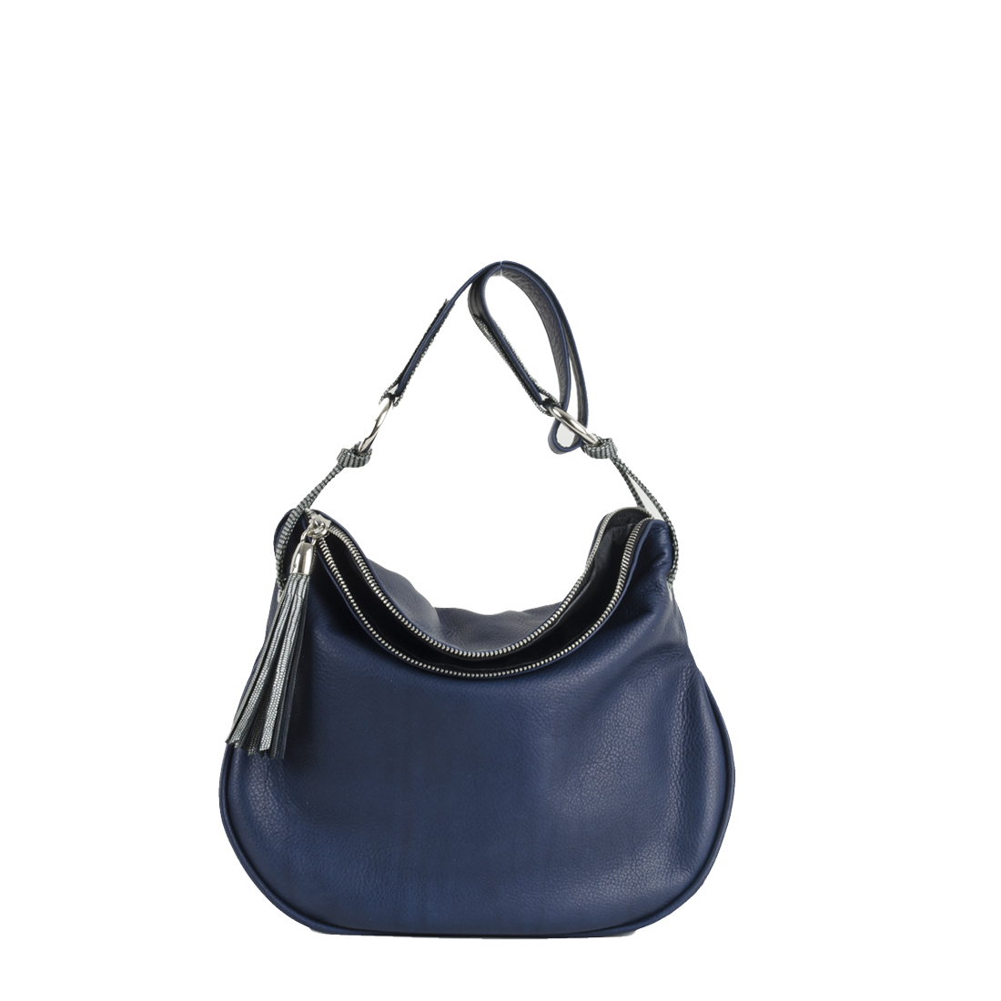 Milly Navy Leather Shoulder Bag