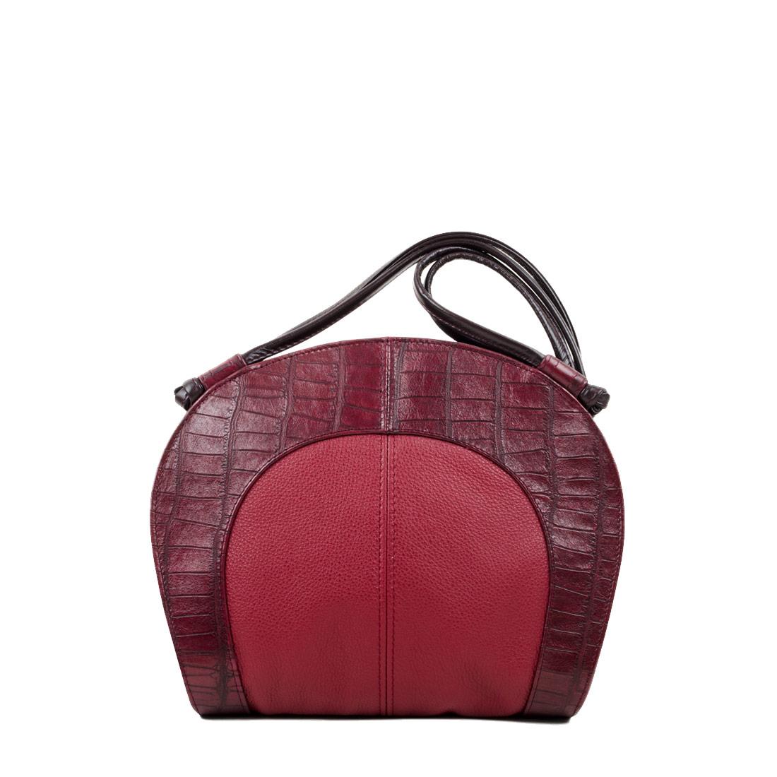 Molly Red crocodile Print Leather Shoulder Bag