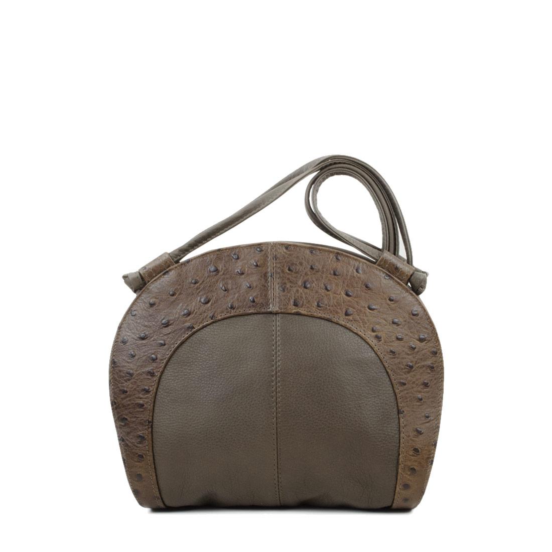 Molly Olive Ostrich Print Leather Shoulder Bag