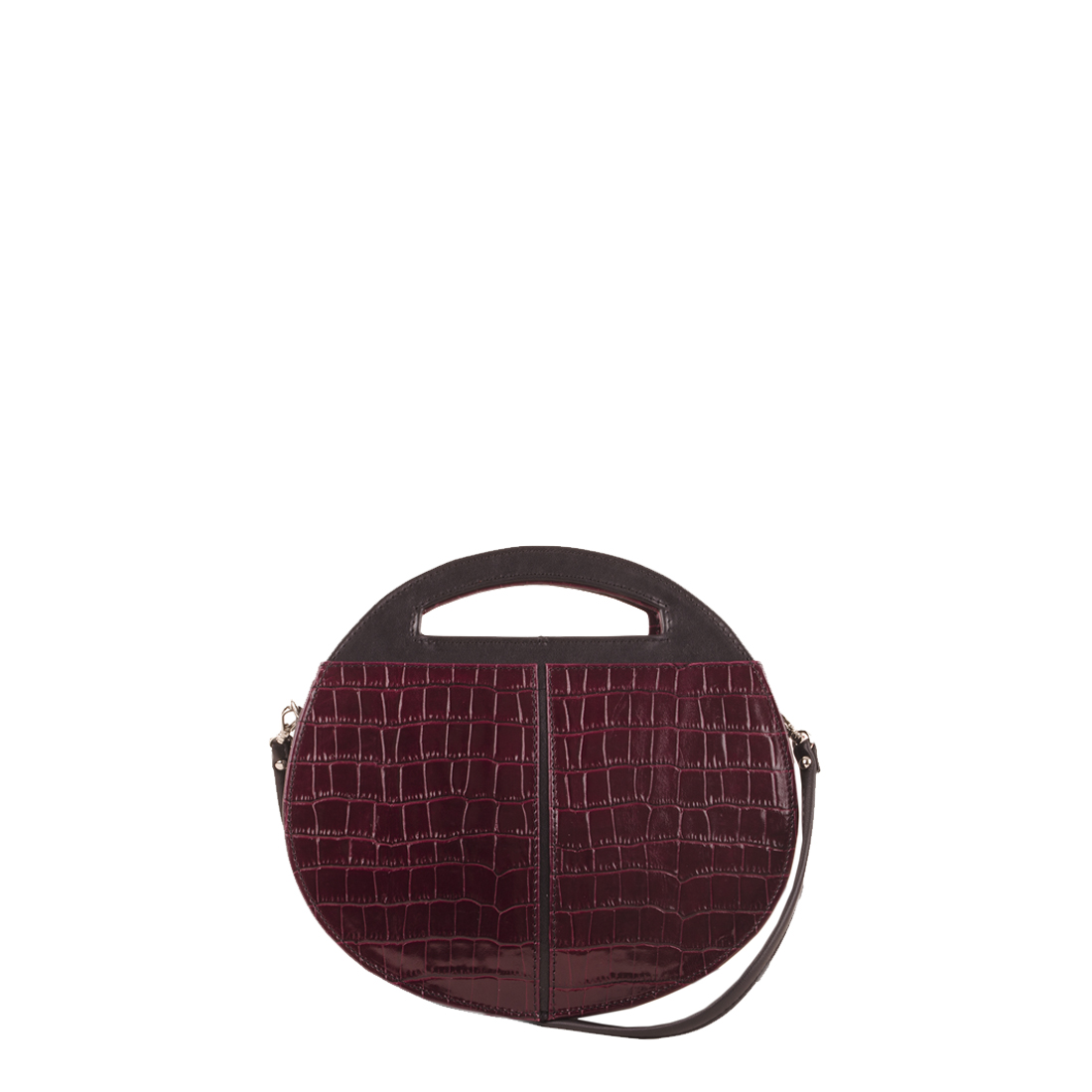 Olivia Burgundy Crocodile Print Leather Shoulder Bag