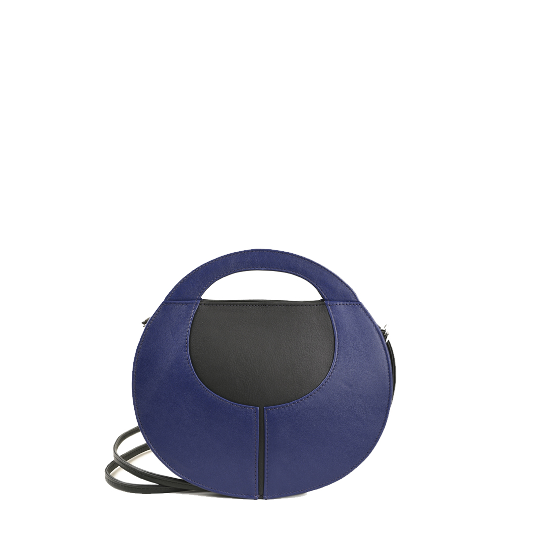 Olivia Purple Blue with black Leather Shoulder Bag