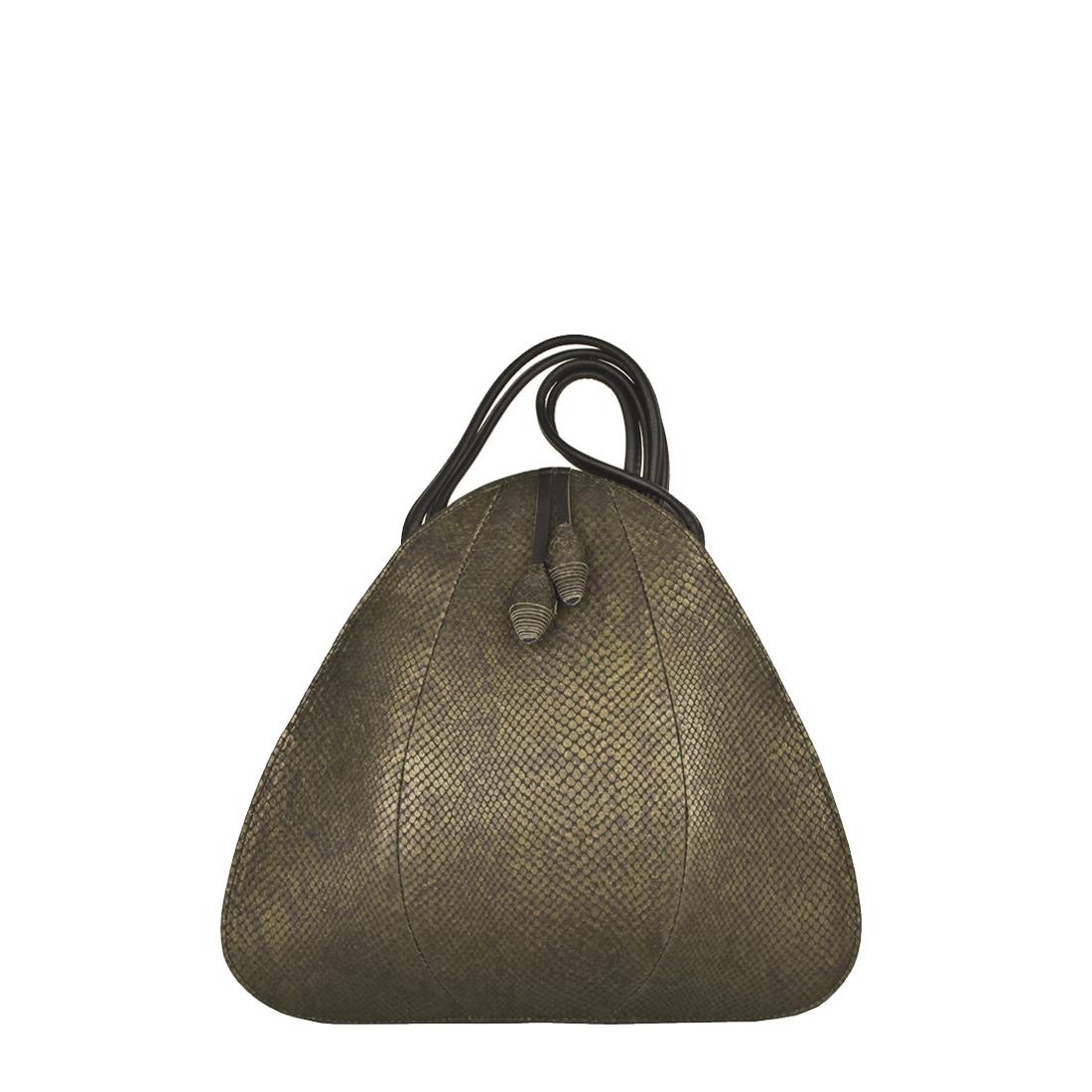 Petal Olive Snake Print Shoulder Bag