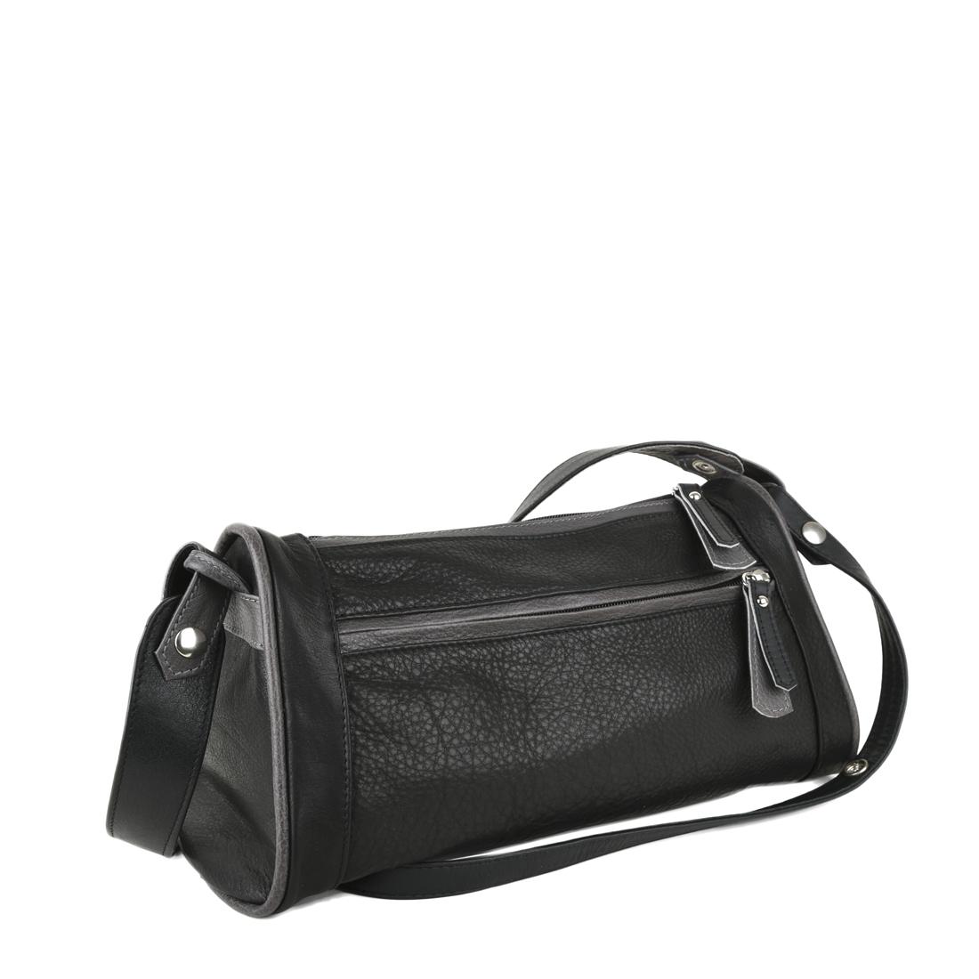 Petra Black Leather Shoulder Bag