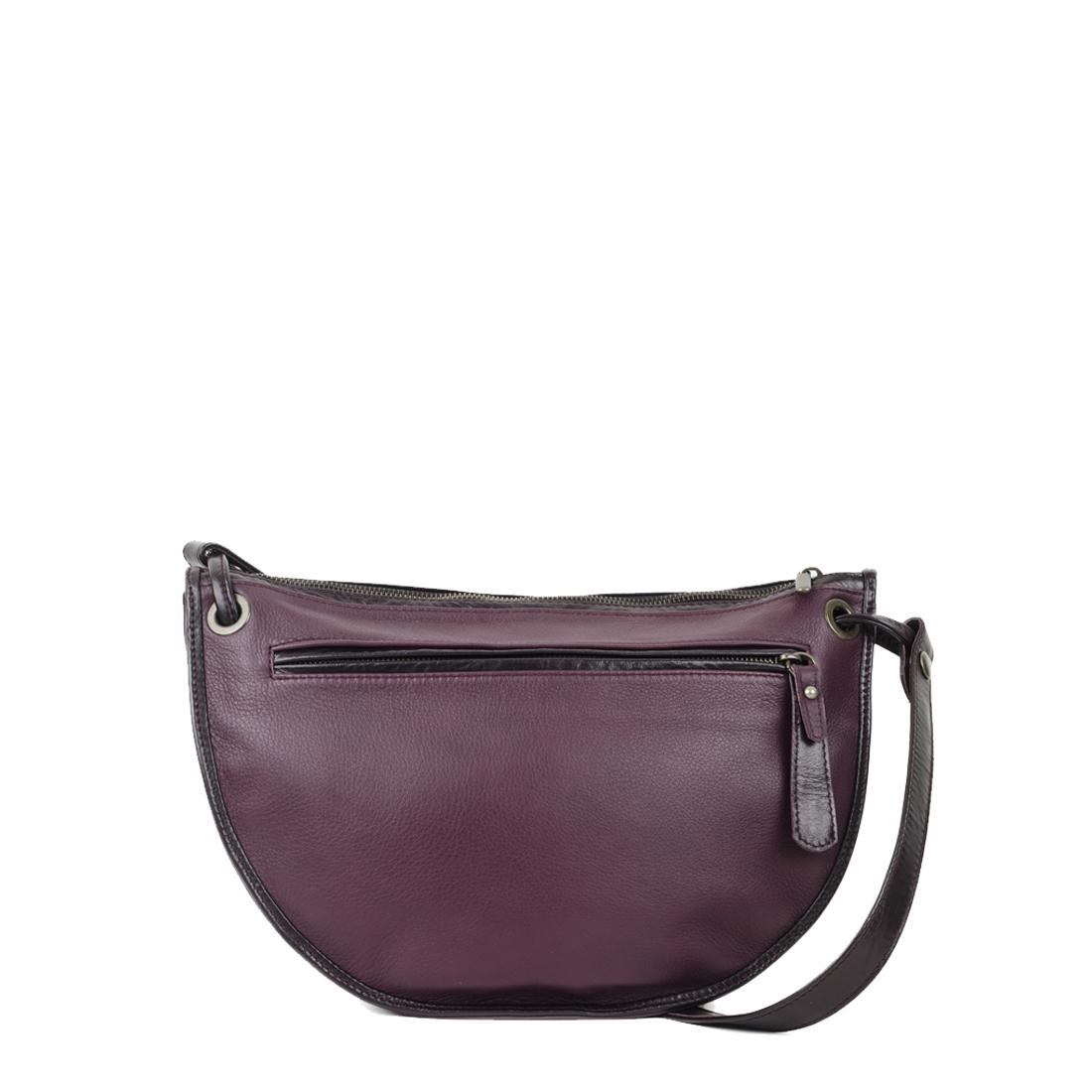 Rachel Plum Leather Across Body Bag