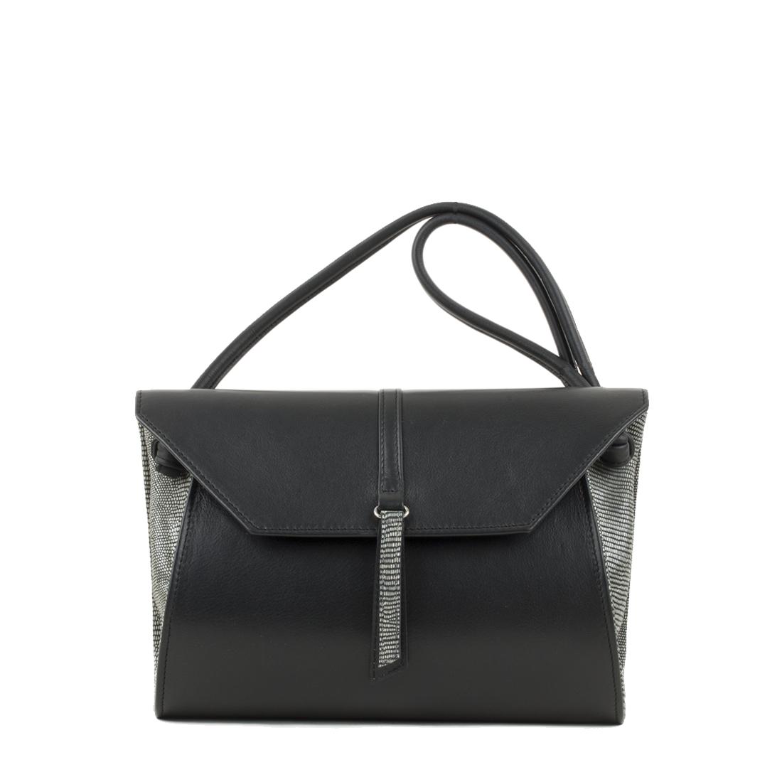 Rosa Black Leather Shoulder Bag
