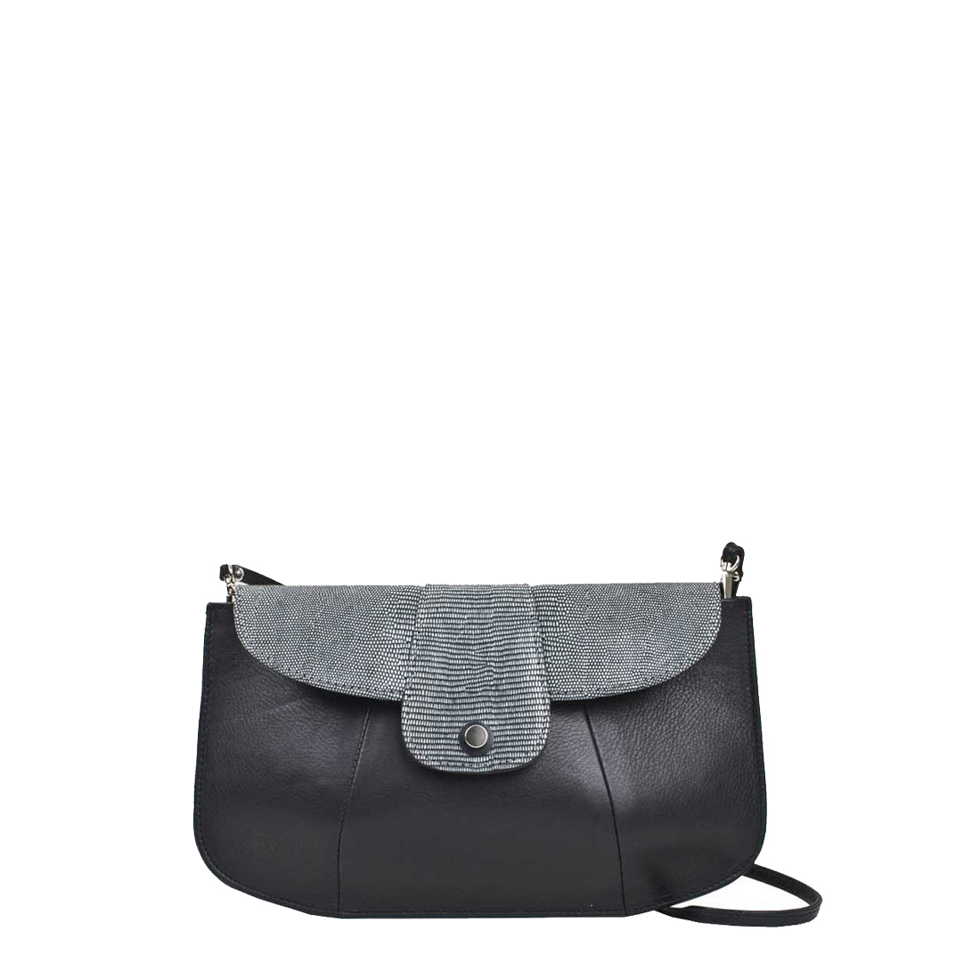 Ruby Black Leather Shoulder Bag