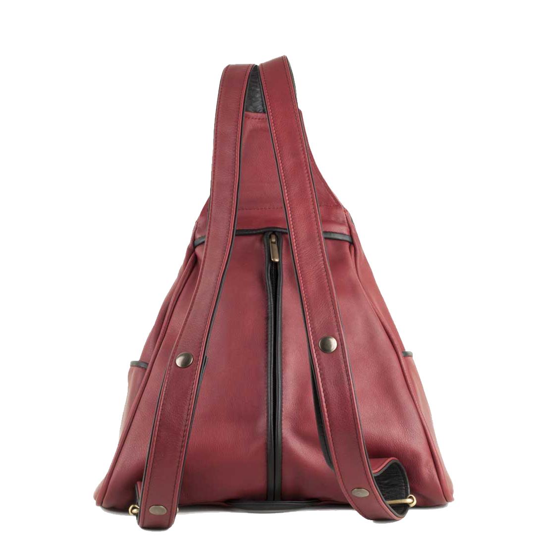 Saddlebag Red Leather Backpack