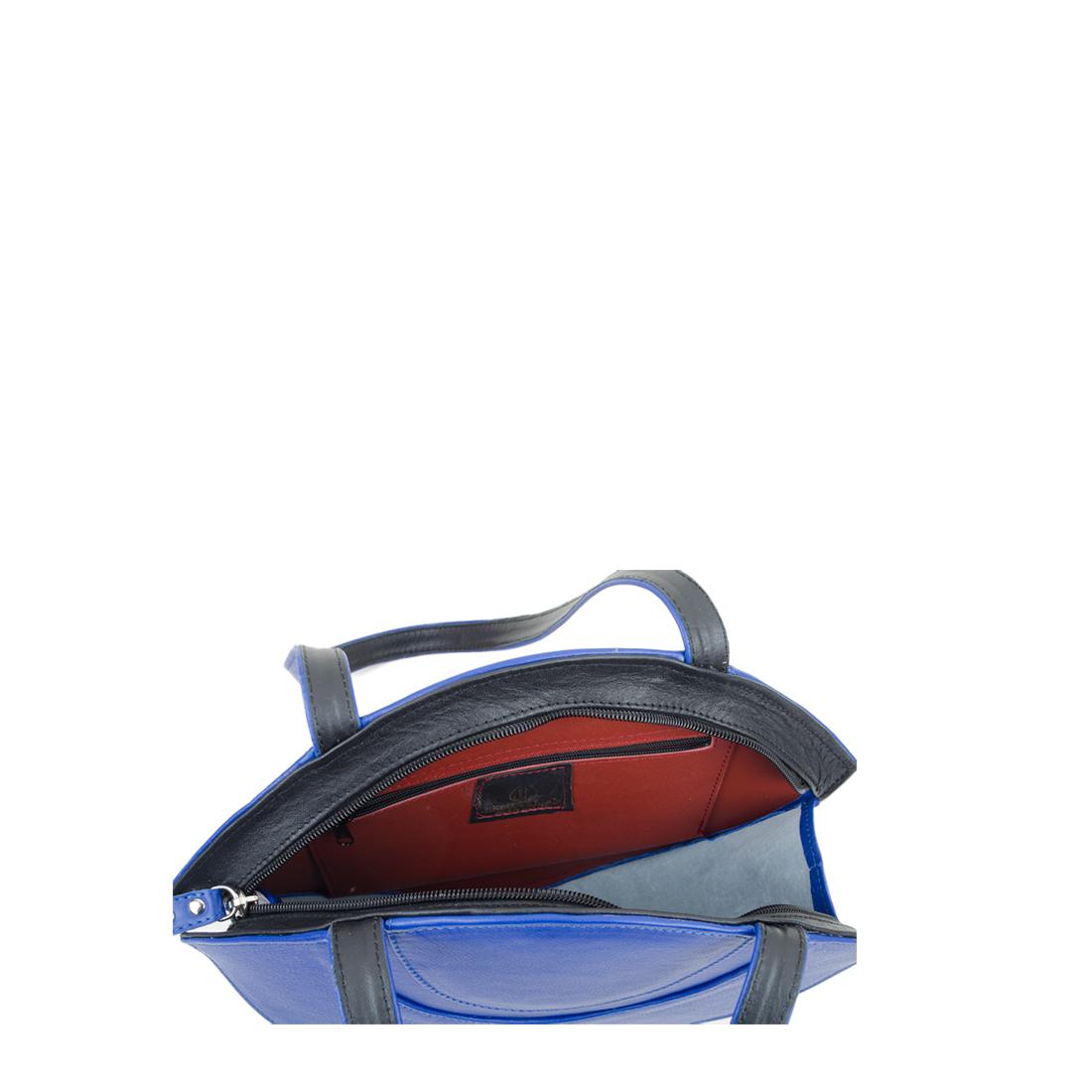 Sasha Blue Leather Shoulder Bag