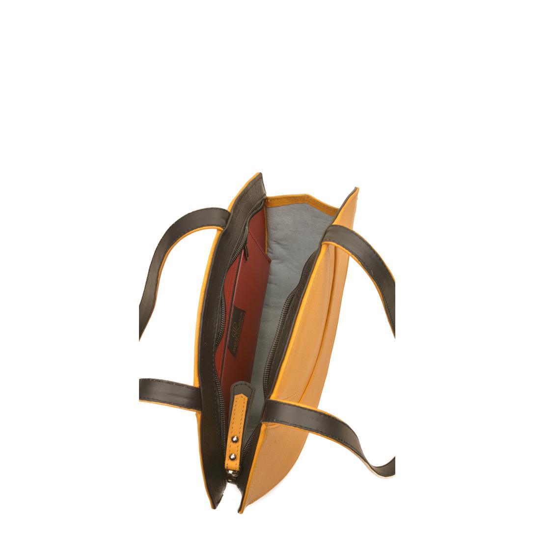 Sasha Yellow Leather Shoulder Bag