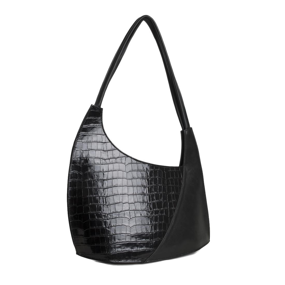 Scoop Black Crocodile Print Leather Shoulder Bag