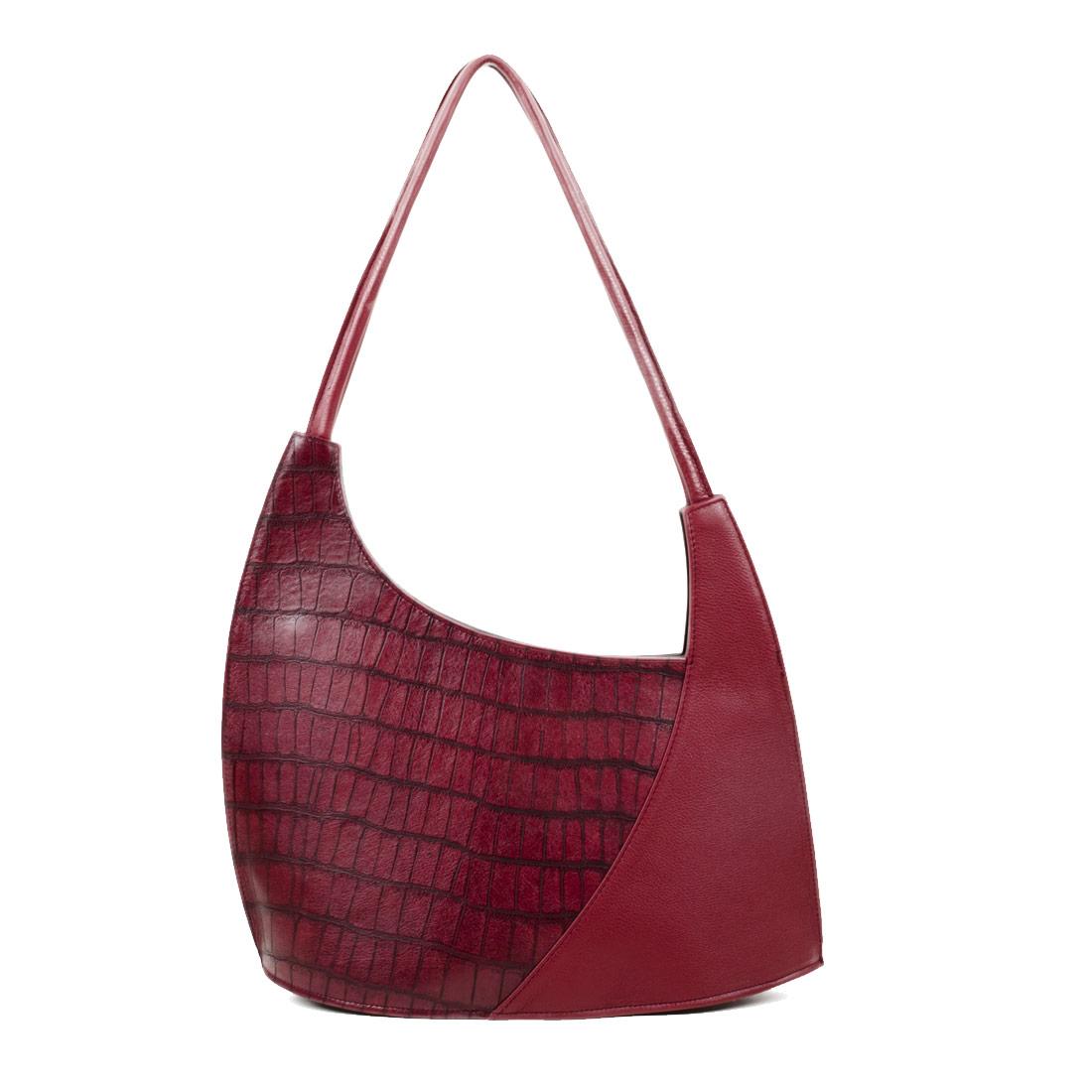 Scoop Burgundy Crocodile Print Leather Shoulder Bag