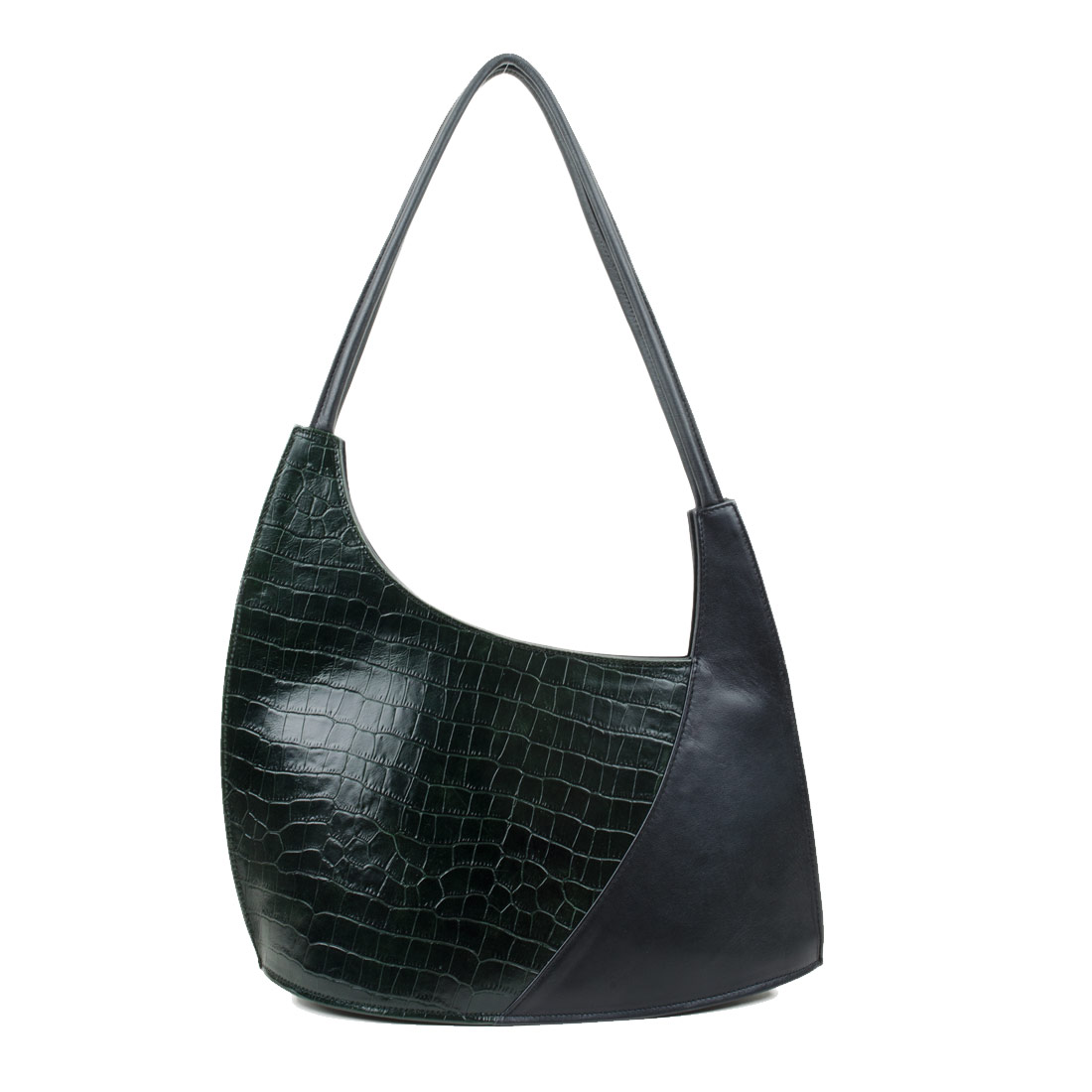Scoop Green Crocodile Print Leather Shoulder Bag