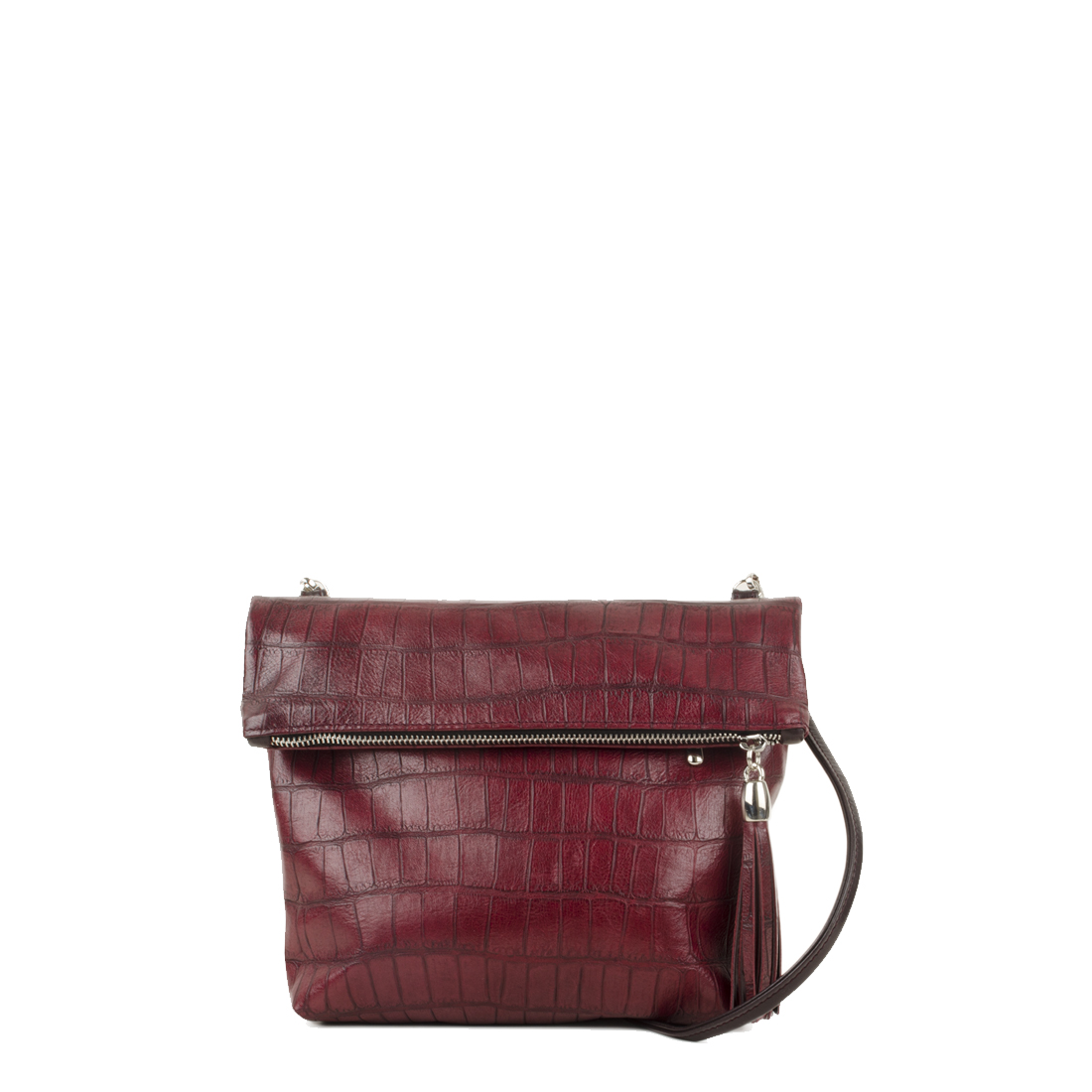 Sofia Burgundy Crocodile Print Across Body Bag