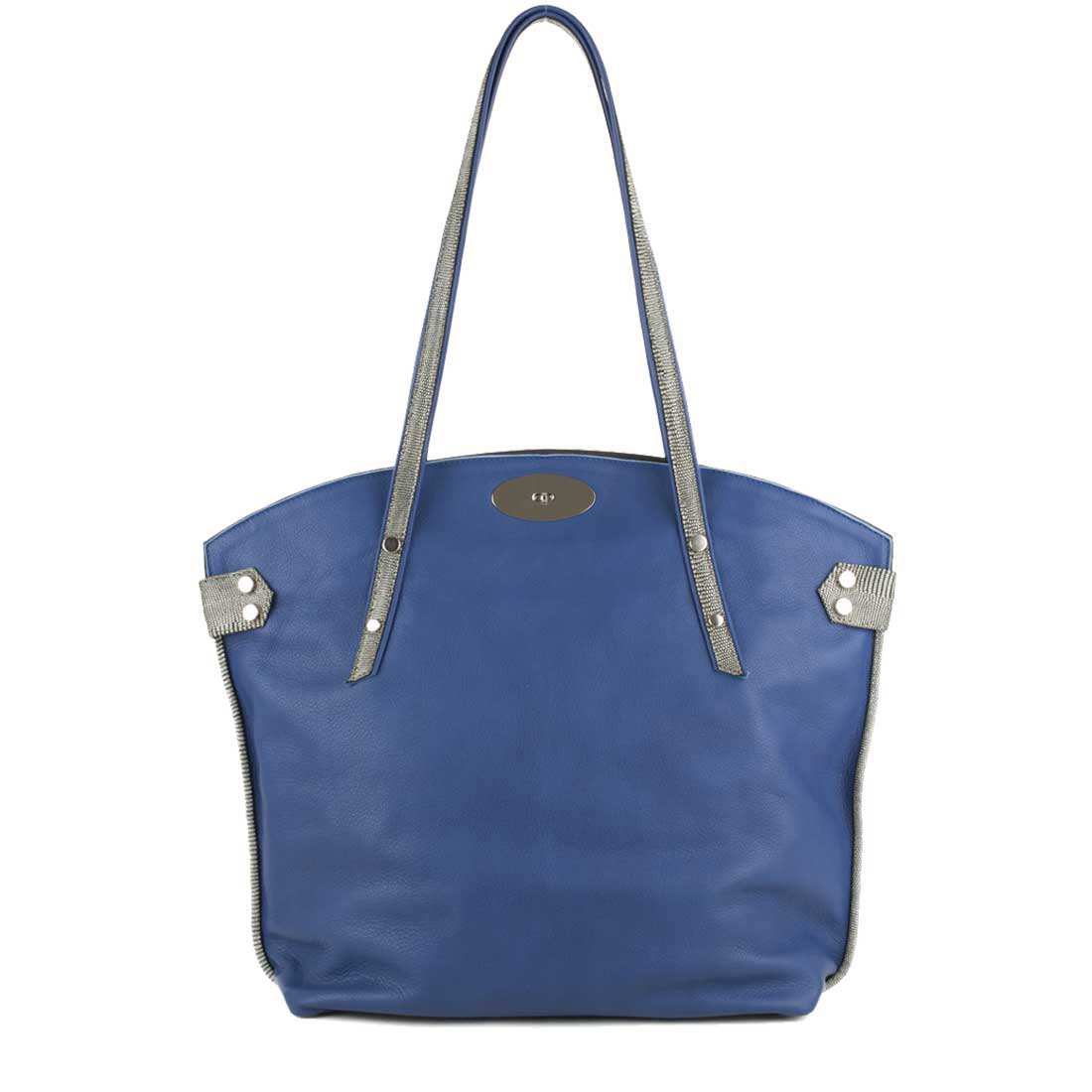 Tamara Blue Leather Tote Bag