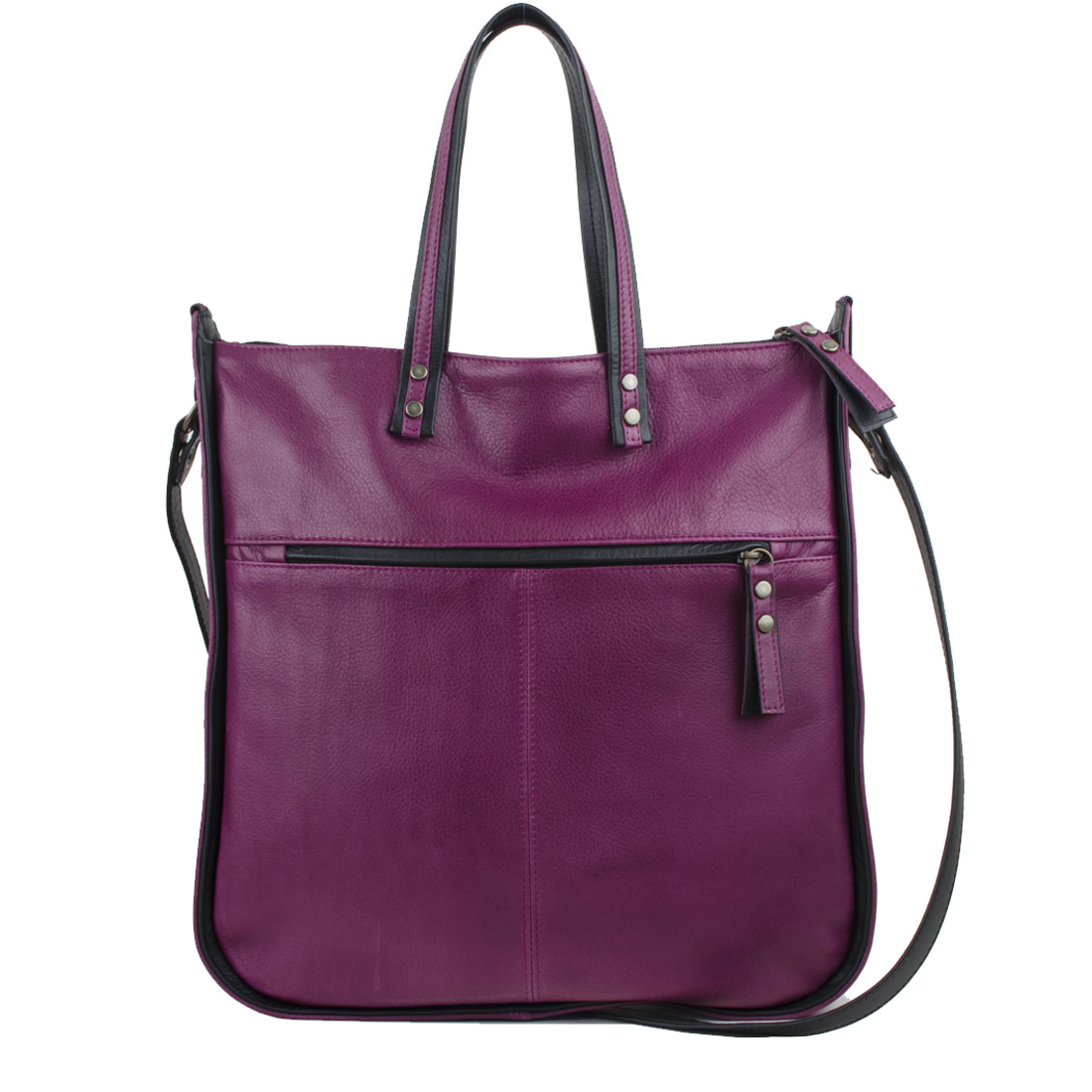 Tessa Magenta Leather Tote