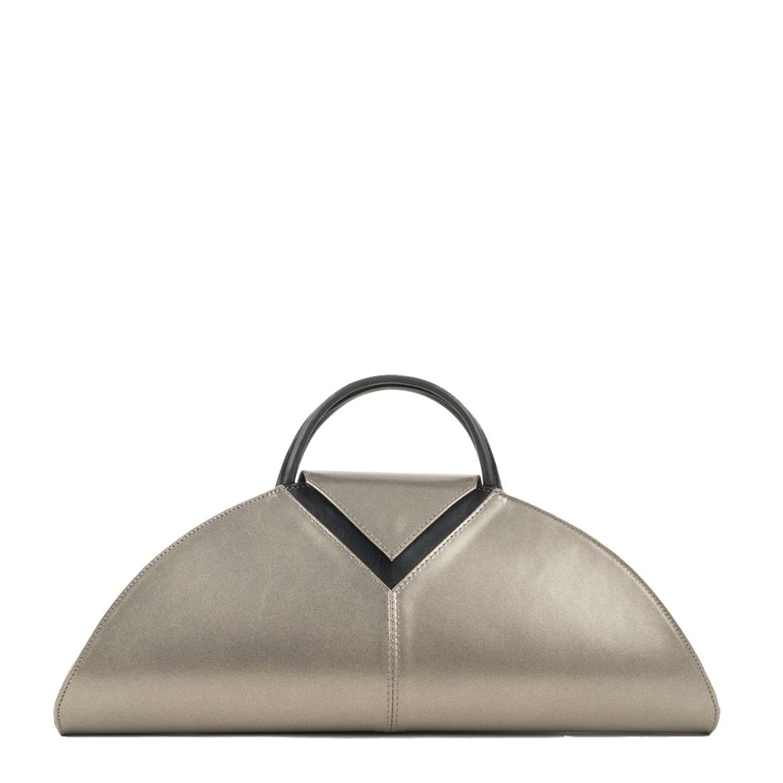 V Clutch Bronze Leather Handbag
