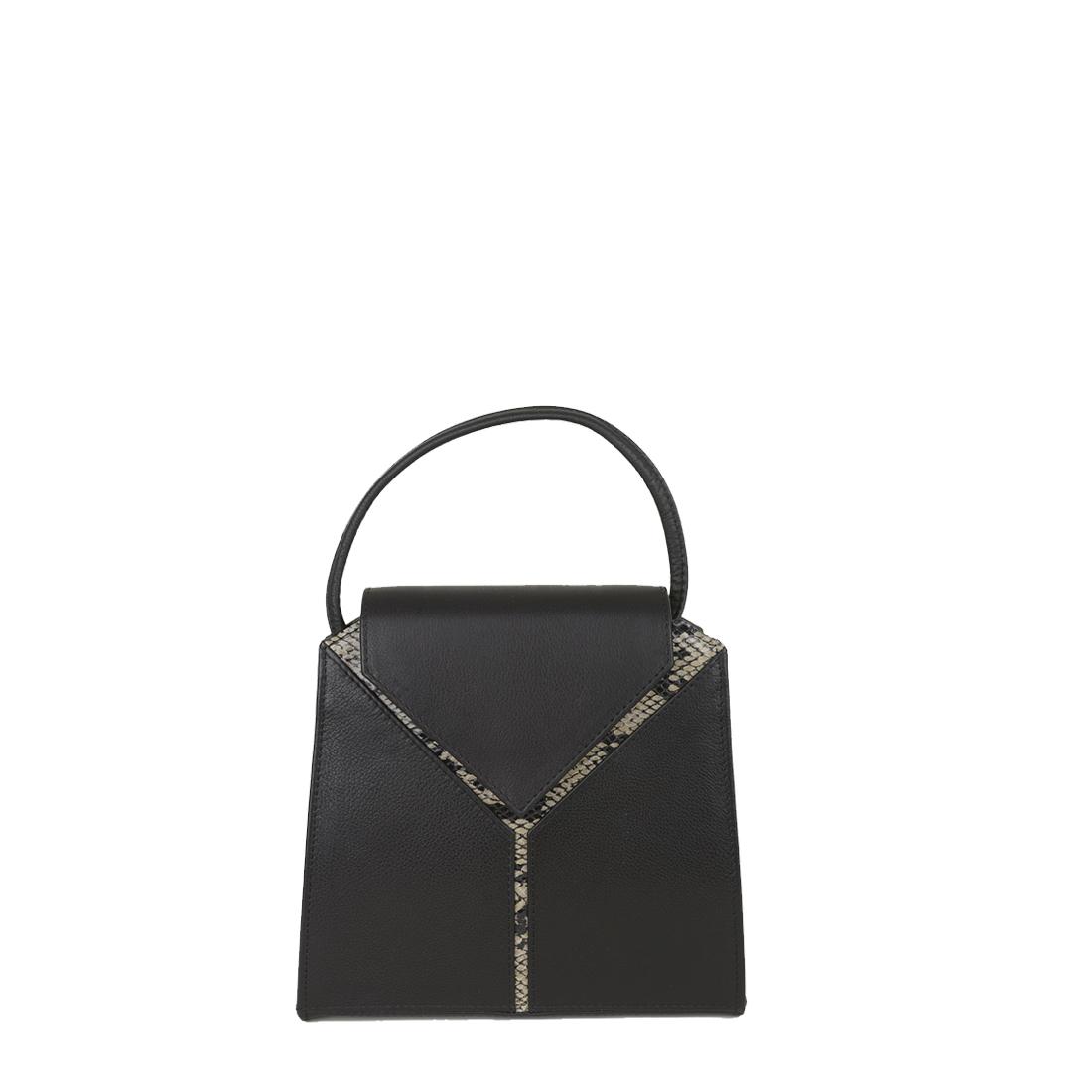 Yasmin Black Cream Python Evening Shoulder Bag